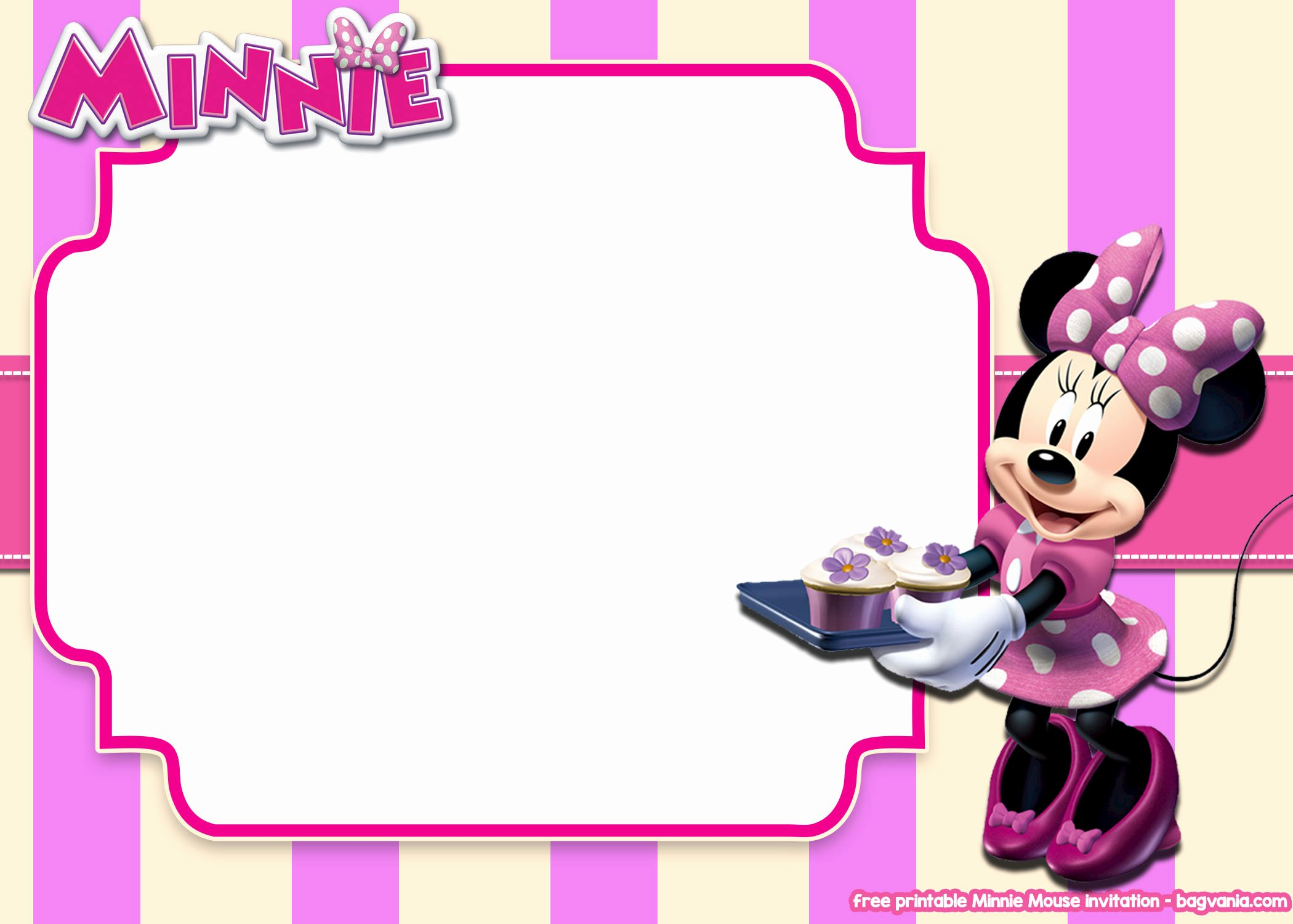 Free Minnie Mouse Templates Awesome Free Printable Minnie Mouse Pink Invitation Templates