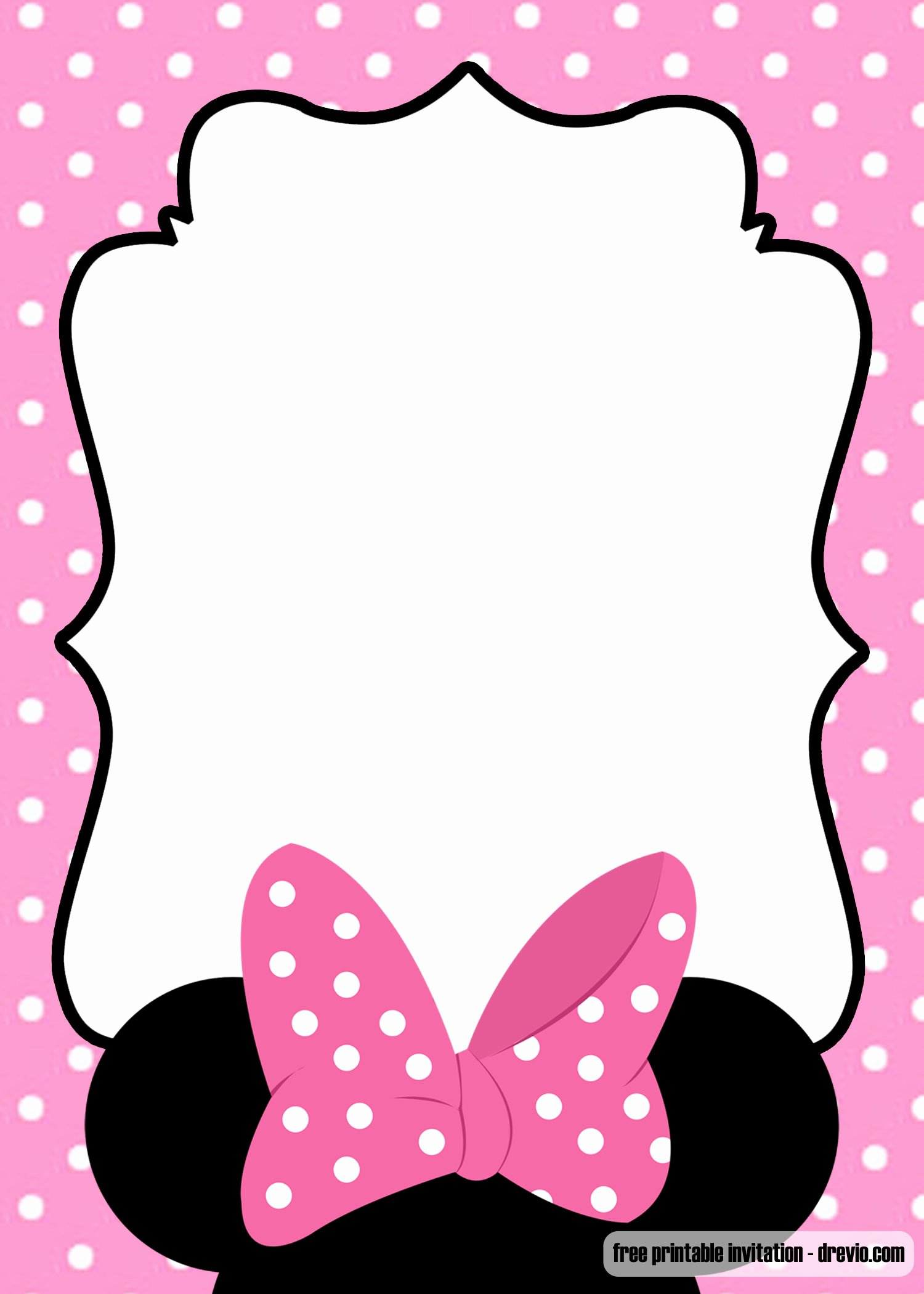 Free Minnie Mouse Templates Best Of Free Polka Dot Pink Minnie Mouse Invitation Template