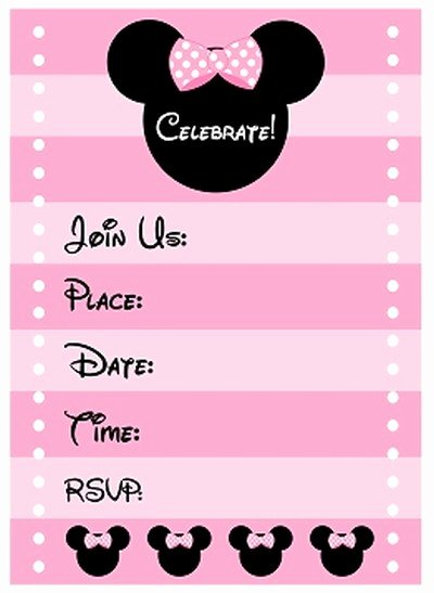 Free Minnie Mouse Templates Elegant Free Minnie Mouse Birthday Party Invitation Template