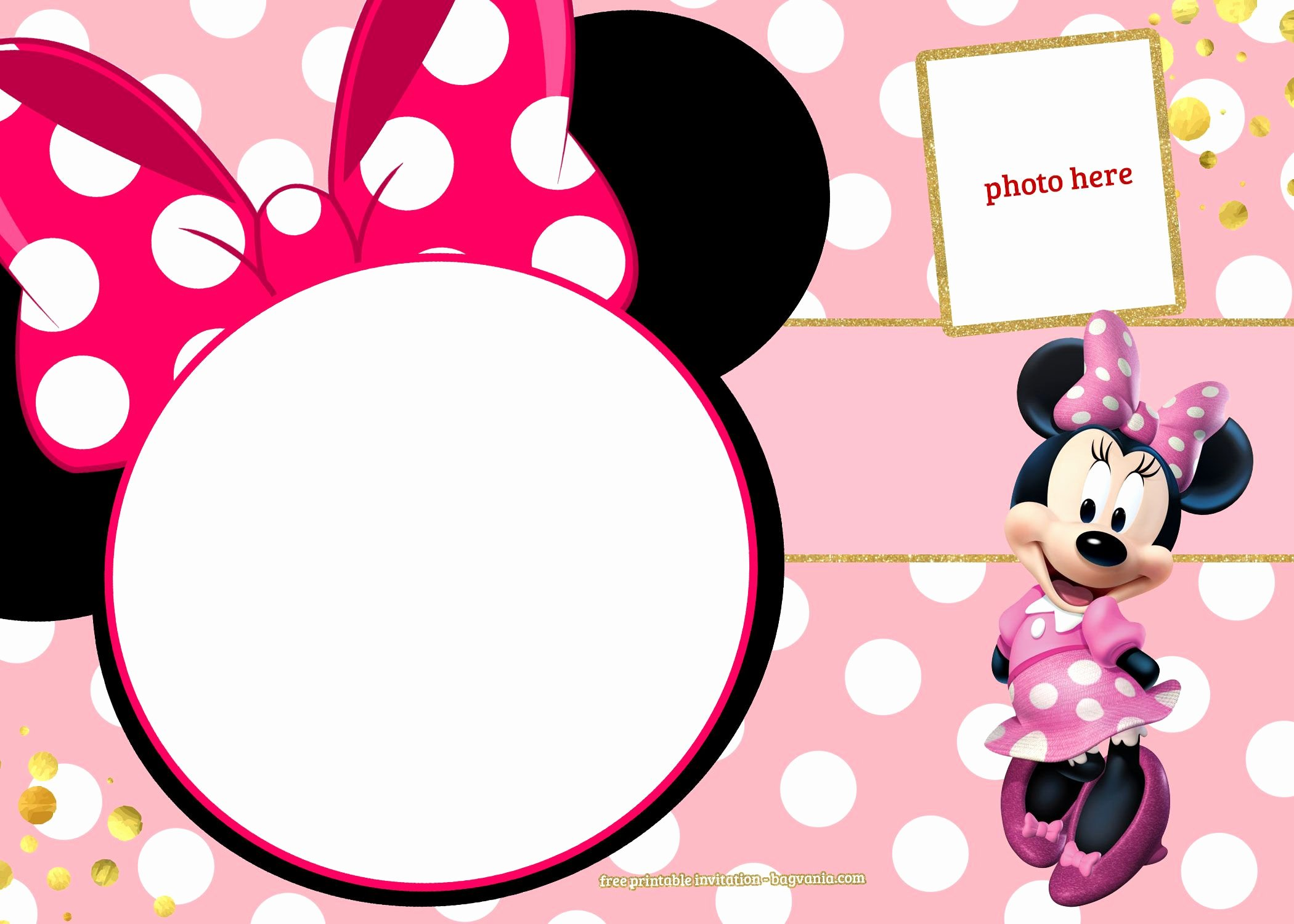 Free Minnie Mouse Templates Elegant Free Printable Minnie Mouse Pinky Birthday Invitation