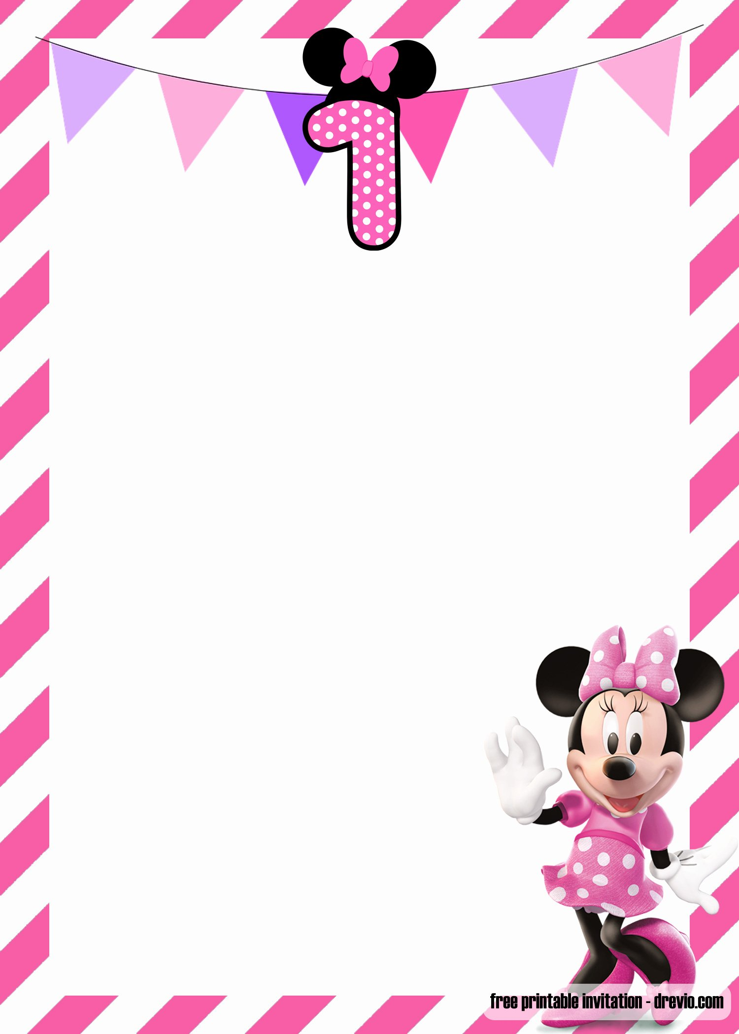 Free Minnie Mouse Templates Lovely Free Minnie Mouse 1st Birthday Invitations Templates