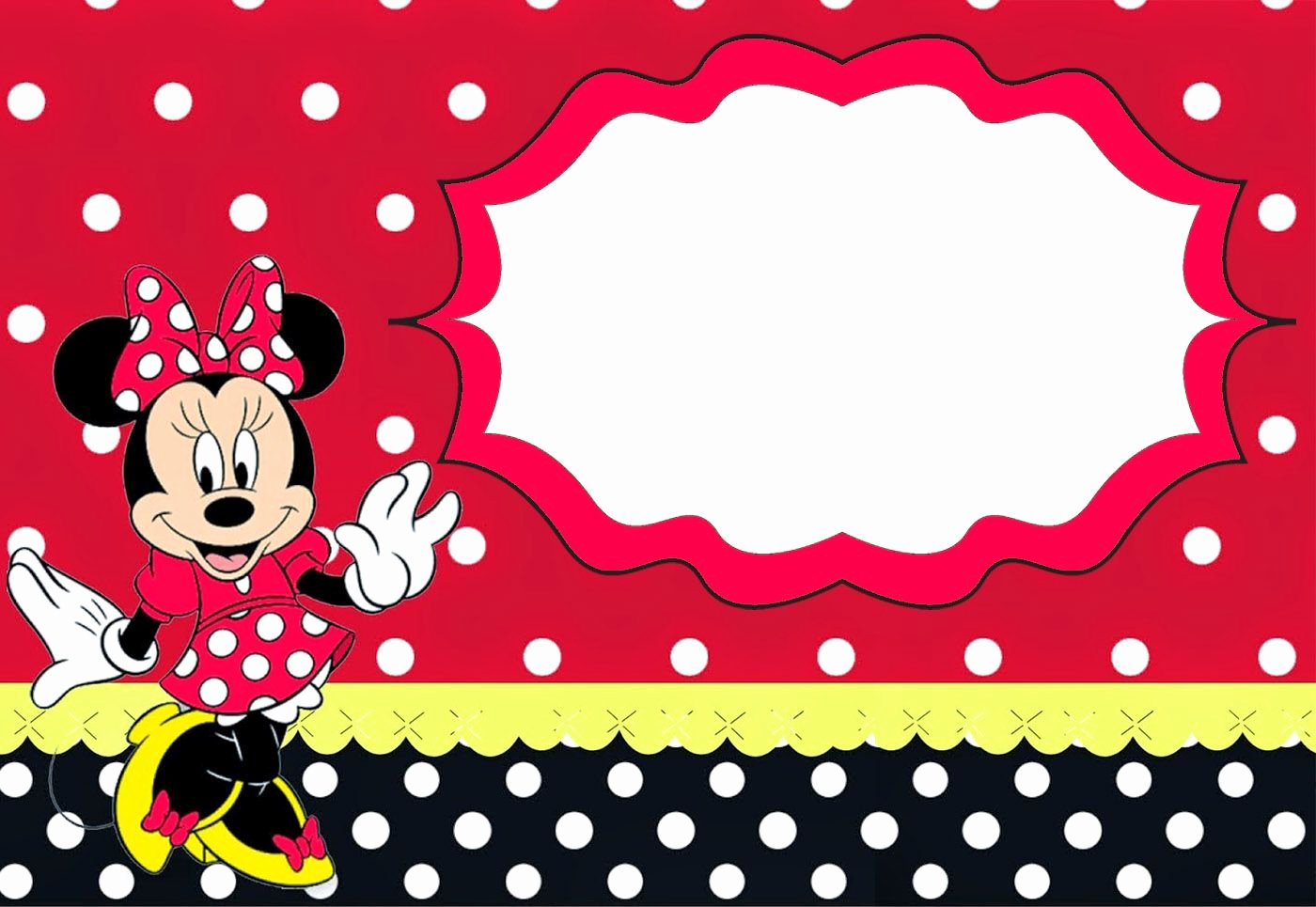 Free Minnie Mouse Templates Luxury Minnie Mouse Birthday Party Invitation Template