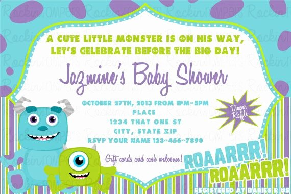 Free Monsters Inc Invitation Template Beautiful Monsters Inc Inspired Baby Shower Invitation