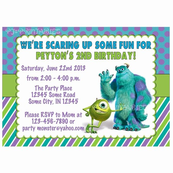 Free Monsters Inc Invitation Template Best Of Monsters Inc Birthday Invitation Custom Digital File by