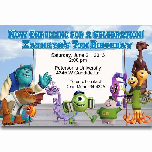 Free Monsters Inc Invitation Template Best Of Monsters University Birthday Party Invitations Digital