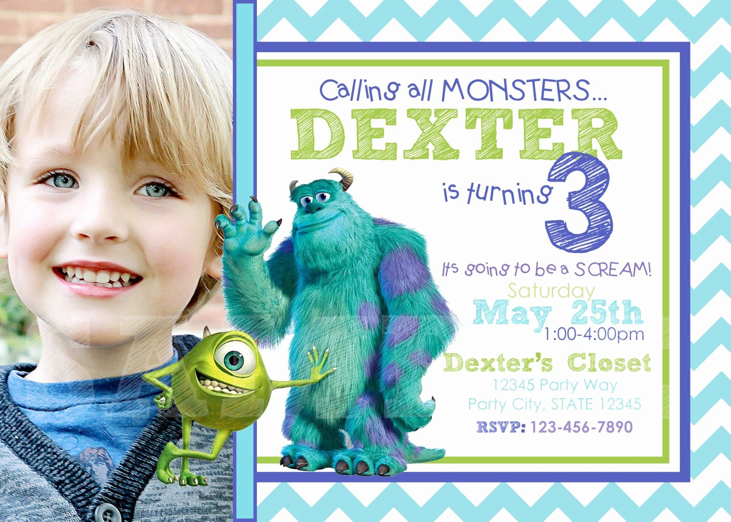 Free Monsters Inc Invitation Template Elegant Etsy Your Place to and Sell All Things Handmade