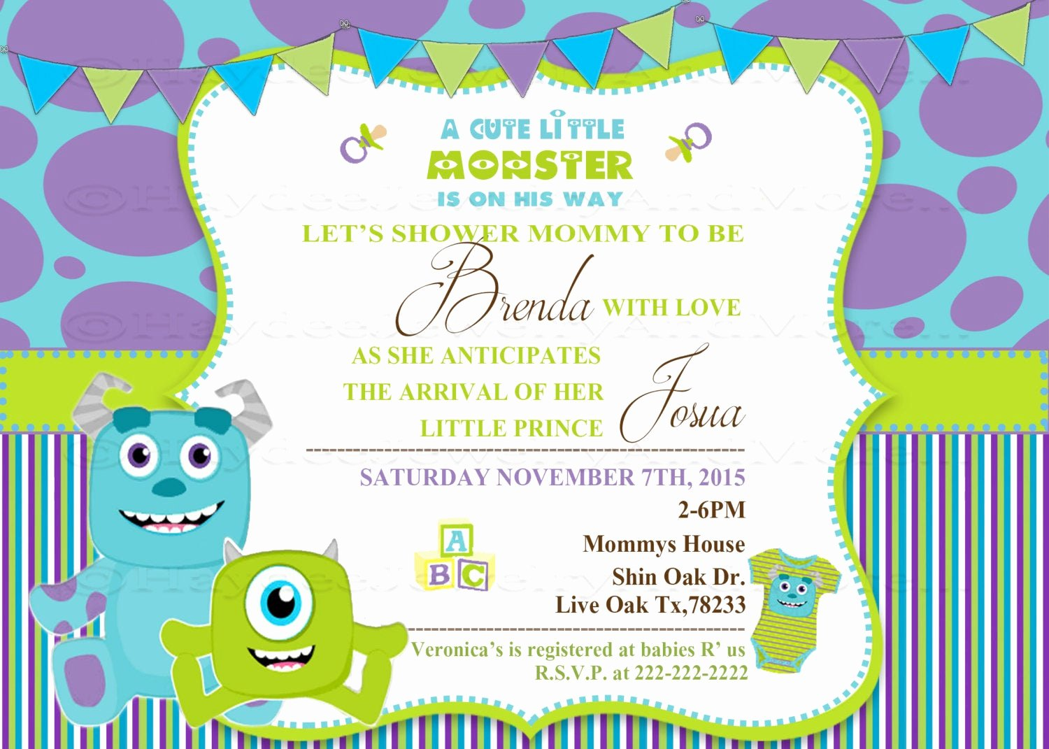 Free Monsters Inc Invitation Template Elegant Monster Inc Baby Shower Invitation