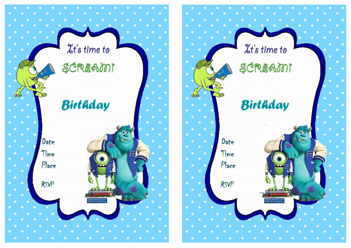Free Monsters Inc Invitation Template Elegant Monsters University Free Printable Birthday Party