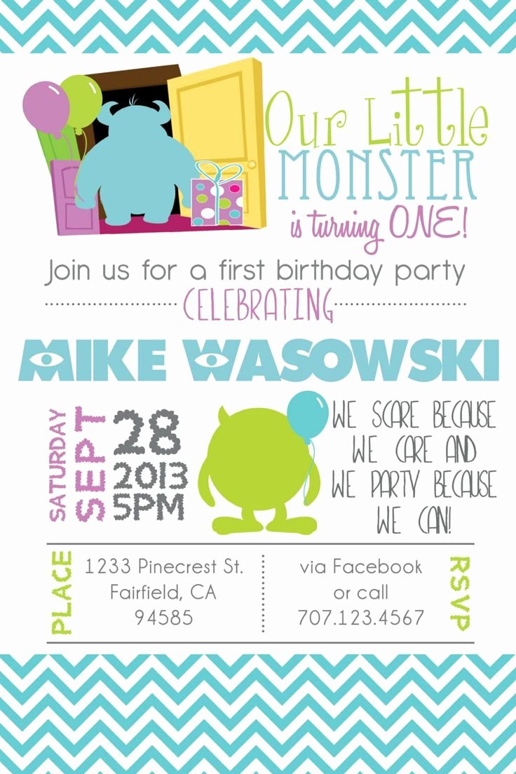 Free Monsters Inc Invitation Template Fresh Pin by Anggunstore On Invitations Templates by