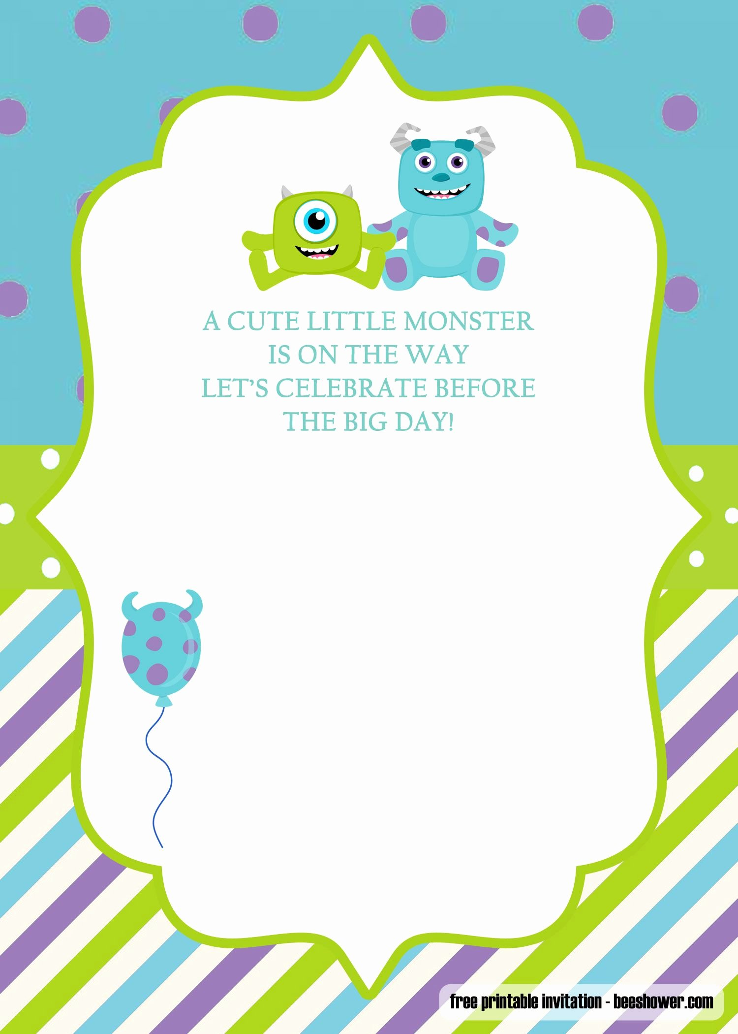 Free Monsters Inc Invitation Template Inspirational Great event Using Free Monster Baby Shower Invitations
