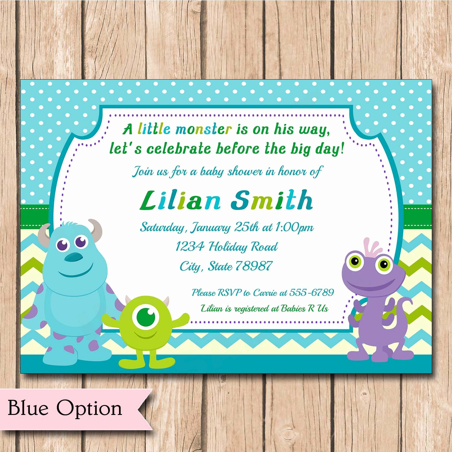 Free Monsters Inc Invitation Template Lovely Mini Monsters Inc Baby Shower Invitation Boy or Girl