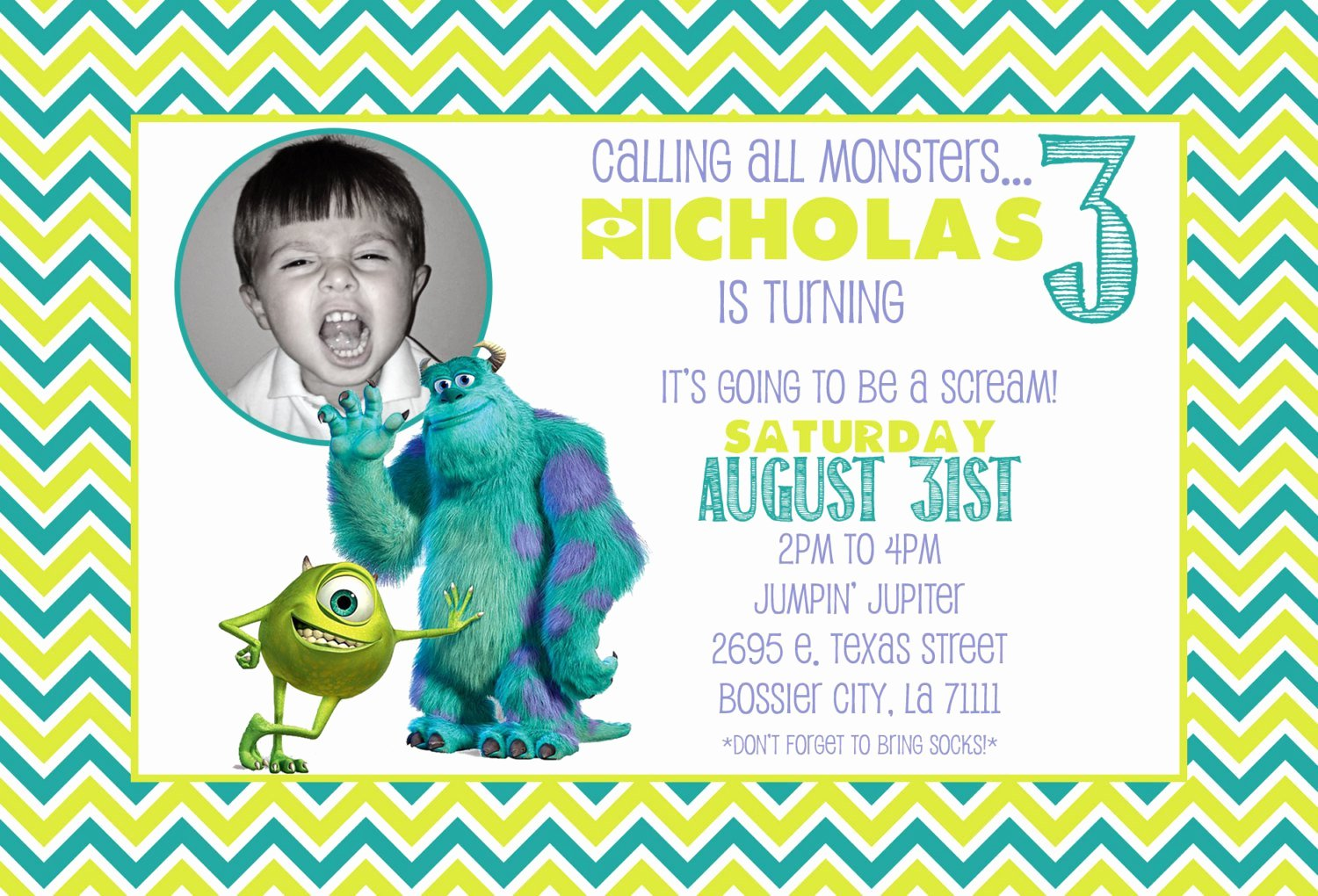 Free Monsters Inc Invitation Template Lovely Monsters Inc 1st Birthday Invitations