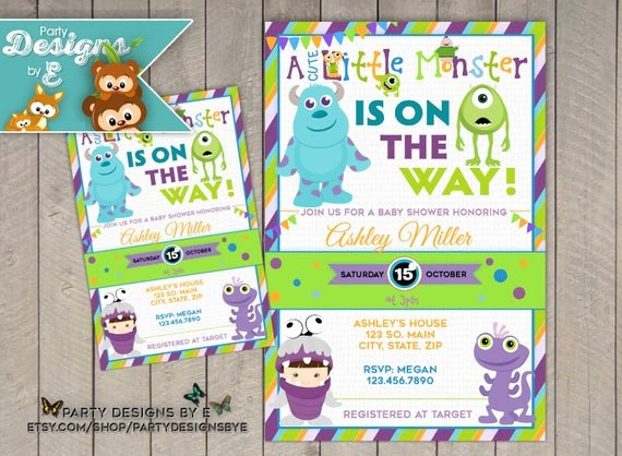 Free Monsters Inc Invitation Template Lovely Monsters Inc Baby Shower Invitation A Little Monster Baby