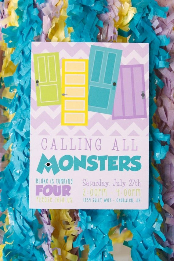 Free Monsters Inc Invitation Template Lovely Monsters Inc Inspired Printable Birthday by Petitepartystudio