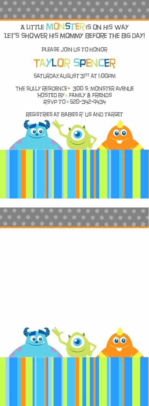 Free Monsters Inc Invitation Template Luxury Free Monster Inc Baby Shower Invite Template