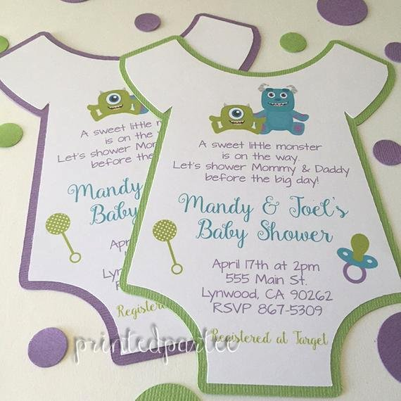 Free Monsters Inc Invitation Template Luxury Monsters Inc Baby Shower Invitations by Printedpartee On Etsy