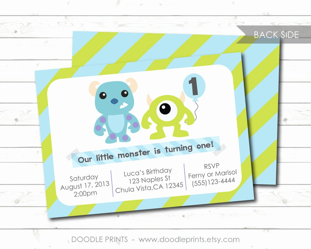 Free Monsters Inc Invitation Template Luxury Monsters Inc Invitation Printable Birthday Party Invitation
