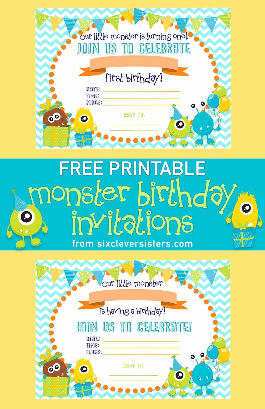 Free Monsters Inc Invitation Template New Free Printable Monster Birthday Invitations