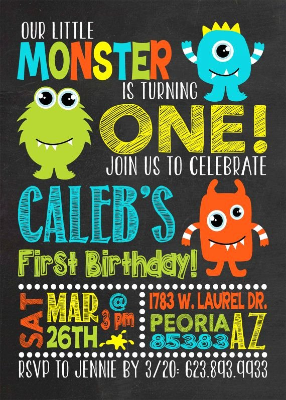 Free Monsters Inc Invitation Template New Monster Birthday Invitation Monster First Birthday