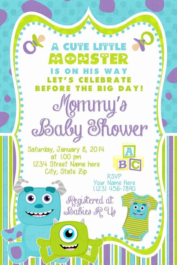 Free Monsters Inc Invitation Template New Monsters Inc Baby Shower Invitation by Rockinrompers On