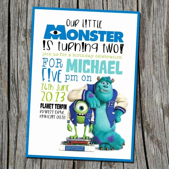 Free Monsters Inc Invitation Template New Monsters Inc Invitation Only Modern by Embellishedesigns