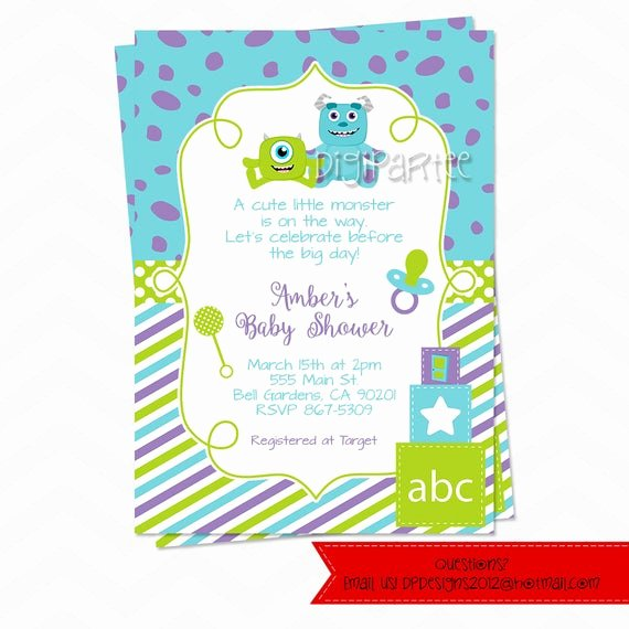 Free Monsters Inc Invitation Template Unique Monsters Inc Baby Shower Invitations by Dpdesigns2012 On Etsy