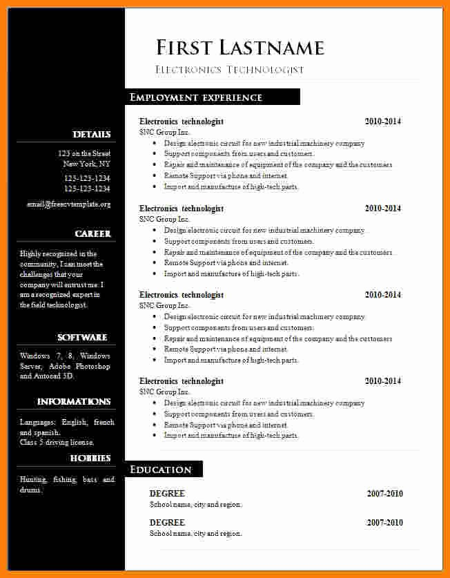 Free Ms Office Resume Templates Awesome 13 Cv Resume Template Microsoft Word