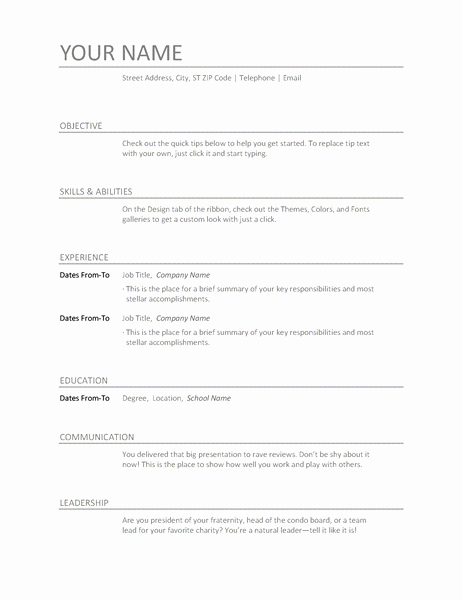 Free Ms Office Resume Templates Beautiful Download Resume Cv Templates for Free