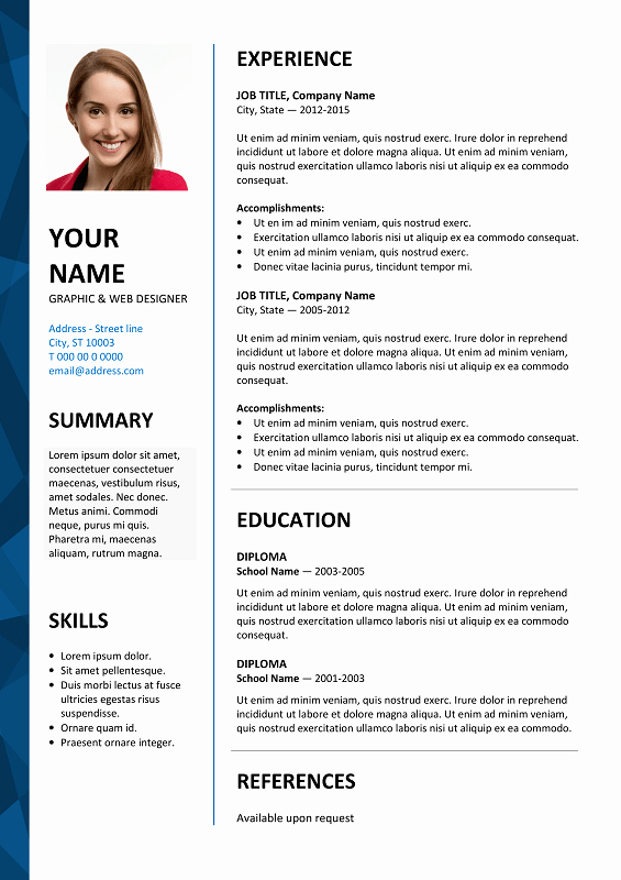 Free Ms Office Resume Templates Unique Dalston Free Resume Template Microsoft Word Blue Layout