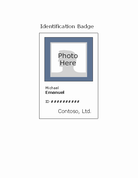 Free Name Tag Template Word Beautiful Employee Photo Id Badge Portrait