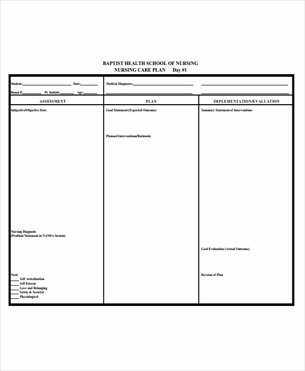 Free Nursing Care Plans Unique 10 Nursing Care Plan Templates Free Sample Example