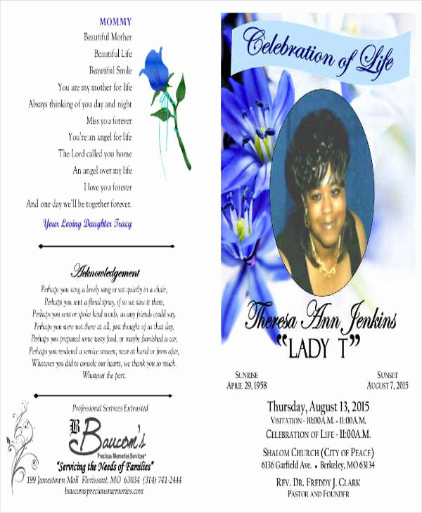 Free Obituary Program Template Beautiful Obituary Template Mother