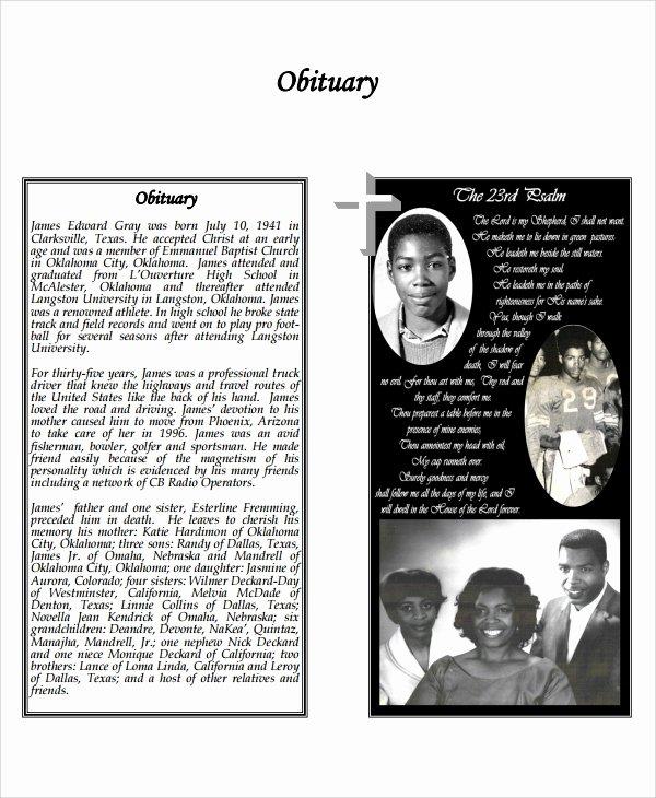 Free Obituary Program Template Beautiful Sample Obituary Program Templates 7 Free Documents