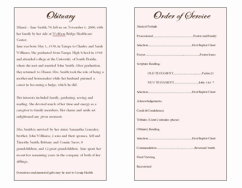 Free Obituary Program Template Best Of Lily Single Fold Memorial Program Funeral Pamphlets