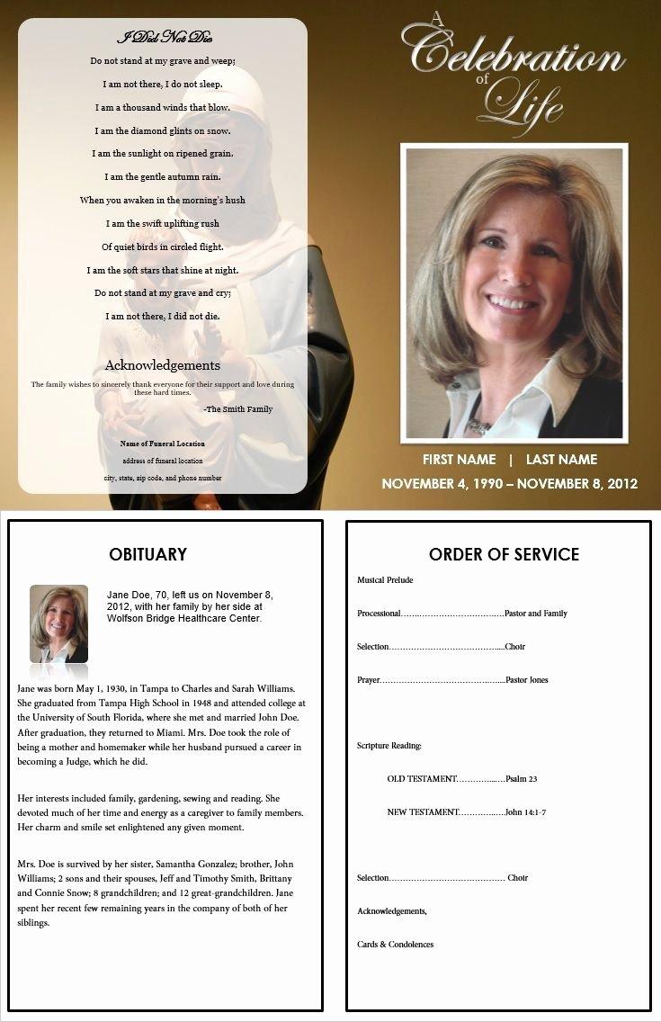 Free Obituary Program Template Elegant Virgin Mary Funeral Program Template Inside Consists Of