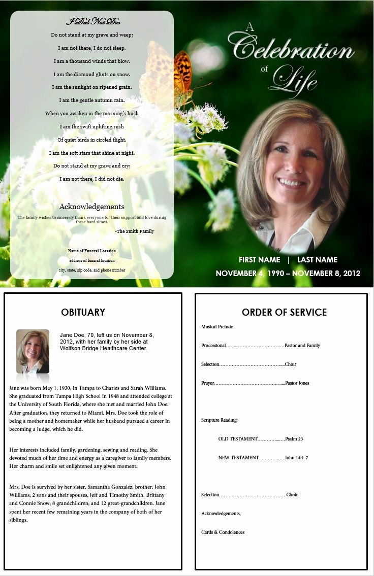 Free Obituary Program Template Fresh Free Editable Obituary Templates Word Pdf Daily Roabox