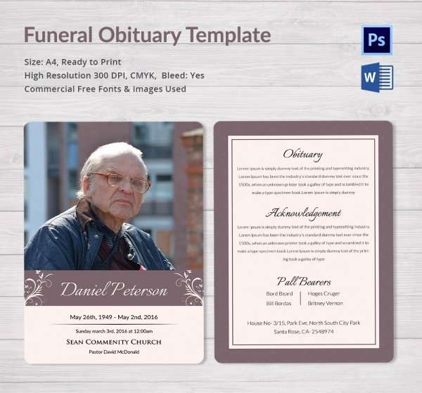 Free Obituary Program Template Inspirational Funeral Obituary Template 25 Free Word Excel Pdf Psd