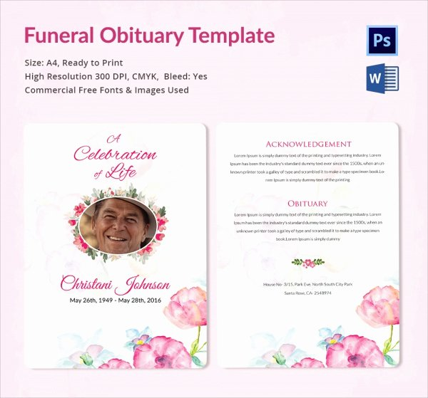 Free Obituary Program Template Unique Sample Funeral Obituary Template 11 Documents In Pdf