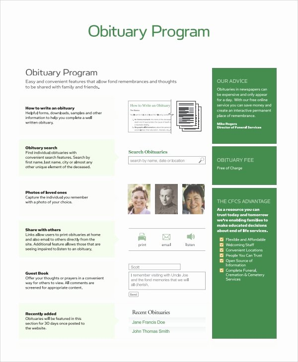 Free Obituary Program Template Unique Sample Obituary Program Templates 7 Free Documents