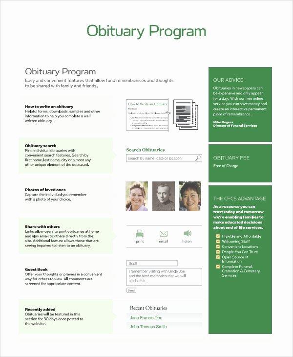 Free Obituary Program Template Unique Sample Obituary Program Templates 7 Free Documents