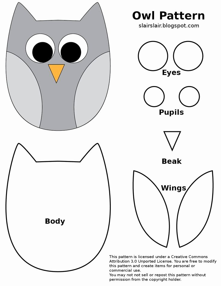 Free Owl Printable Template Lovely Fpf Owl Pattern Google Drive