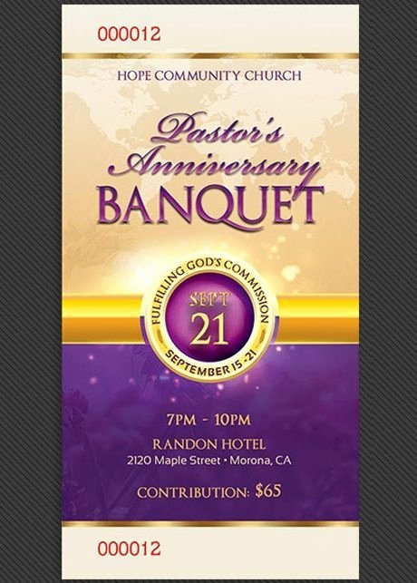 Free Pastor Anniversary Program Templates Elegant Clergy Anniversary Banquet Ticket Template