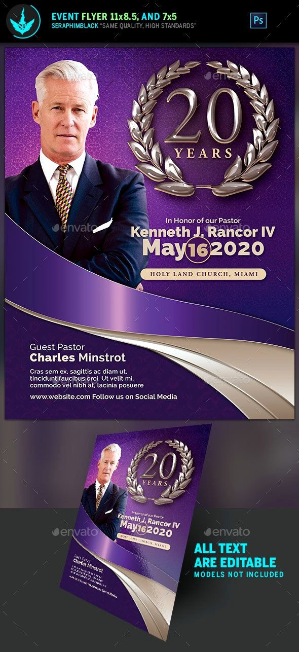 Free Pastor Anniversary Program Templates New Lavender Pastor S Anniversary Church Flyer Template