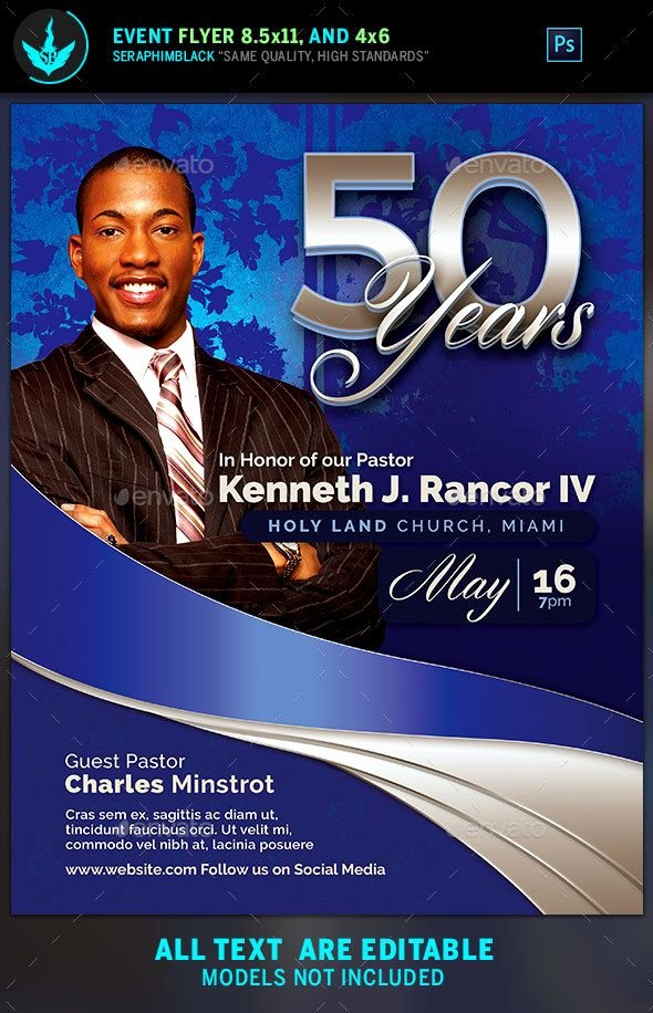 Free Pastor Anniversary Program Templates New Sapphire Blue Pastor S Anniversary Church Flyer Template