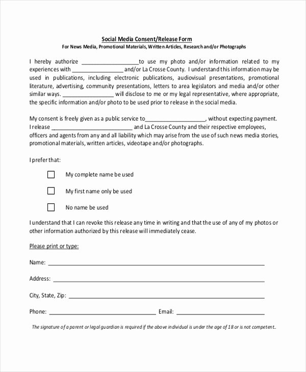 Free Photo Release form Template Fresh Sample Media Release form 10 Free Documents In Pdf