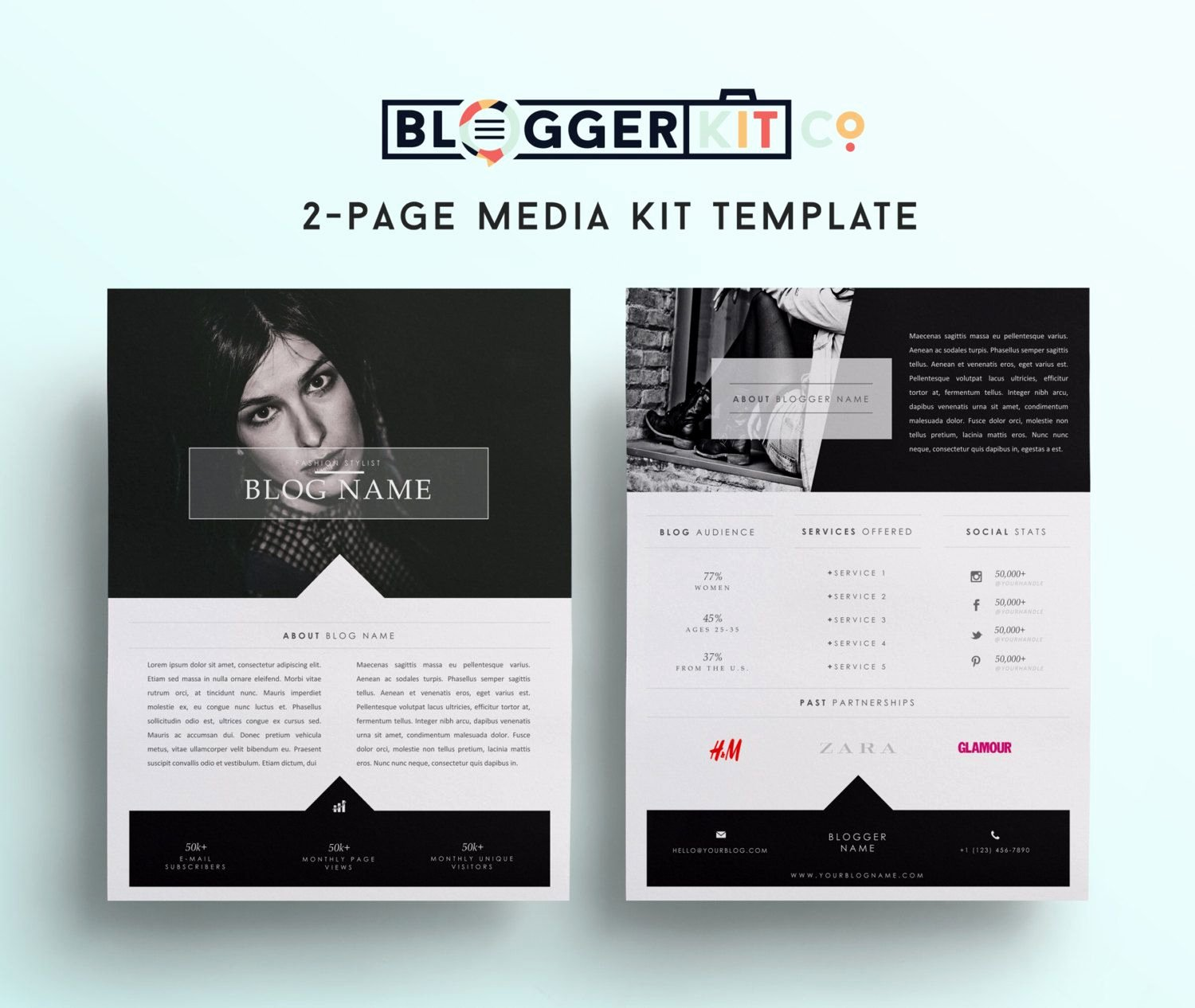 Free Press Kit Template Elegant Two Page Media Kit Template