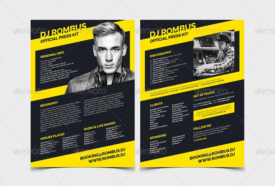 Free Press Kit Template Lovely Rombus Dj Resume Press Kit Psd Template by Vinyljunkie