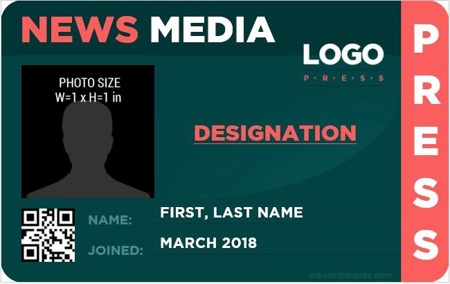 Free Press Pass Template Beautiful 10 Best Press Reporter Id Card Templates