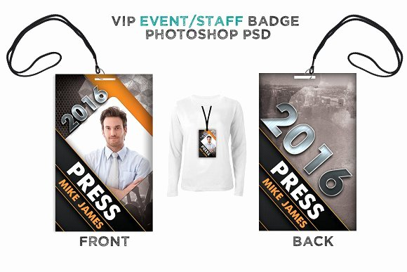Free Press Pass Template Fresh Modern event Vip Badge Card Templates Creative Market