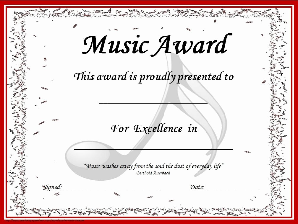 Free Printable Award Certificates Beautiful Music Certificates Editable Music Award Certificates